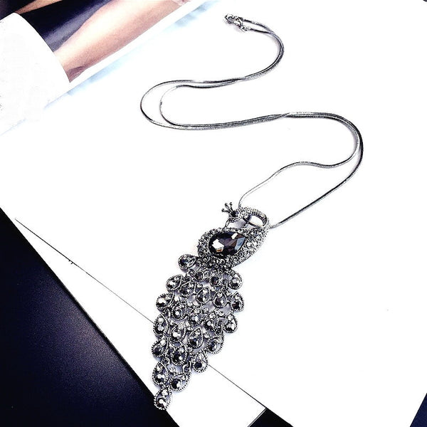 Women's Statement Peacock Rhinestone Long Pendant Necklace-Fashion Necklaces-Junaizo.com