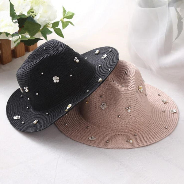 Women's New Flower Pearl Beads Wide Brim Jazz Panama Sun Hat-Sun Hats-Junaizo.com