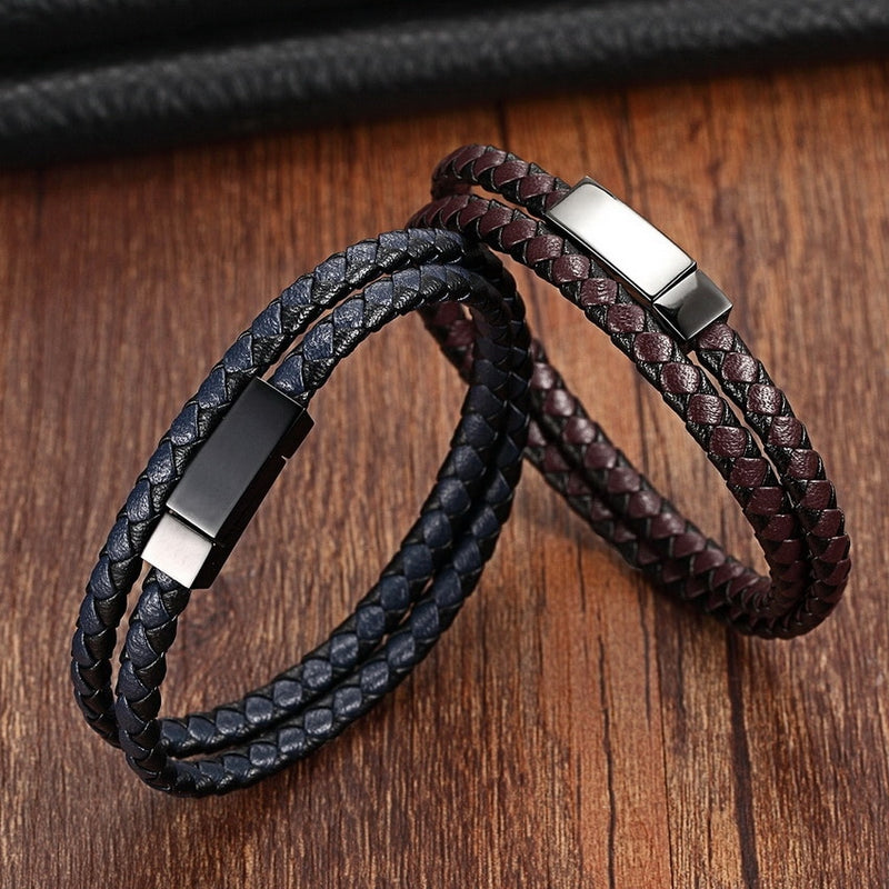 Men's Classic Snake Chain Genuine Leather Magnet Rope Bracelet-Men's Bracelets-Junaizo.com