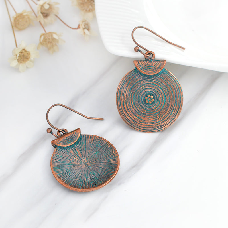 Women's Vintage Mini Flowers Round Bohemian Ethnic Drop Earrings-Boho Earrings-Junaizo.com