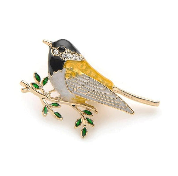 Unisex High Quality Rhinestone Oriole Bird Branch Enamel Brooch Pin-Animal Brooches-Junaizo.com