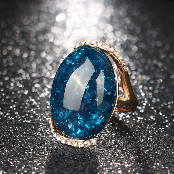 Women's Classic Style Rose Gold Color Big Blue Stone Vintage Ring-Vintage Rings-Junaizo.com