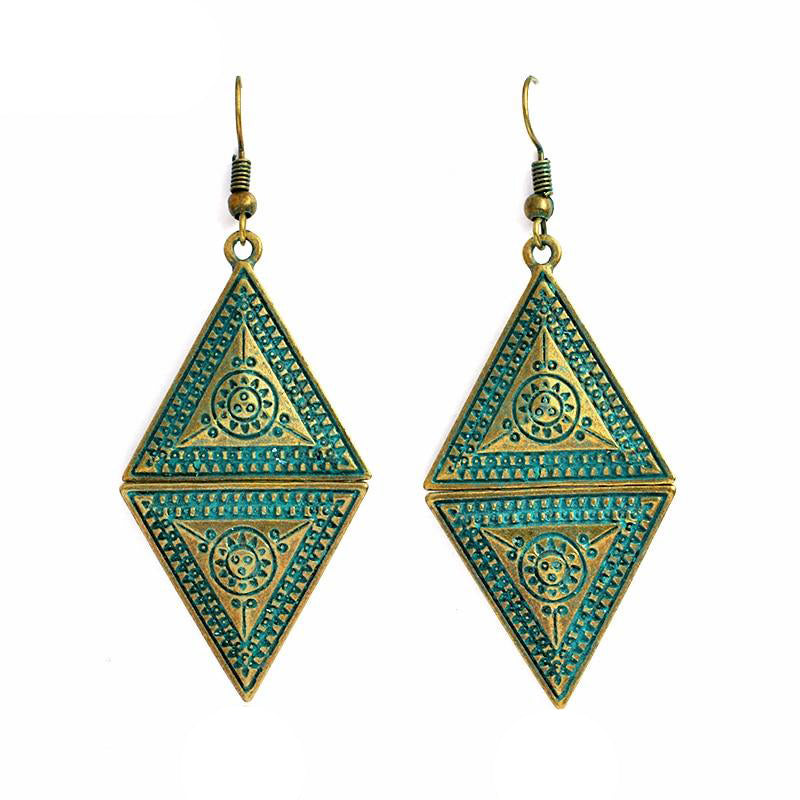 Women's Bohemian Style Bronze Rhombic Triangular Drop Earrings-Boho Earrings-Junaizo.com