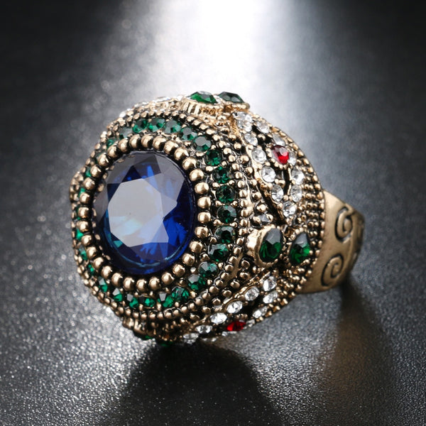 Women's Bohemian Antique Blue Resin Inlay AAA Crystal Punk Ring-Vintage Rings-Junaizo.com