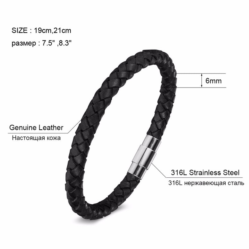 Men's Genuine Leather Magnet Stainless Steel Rope Chain Bracelet-Men's Bracelets-Junaizo.com