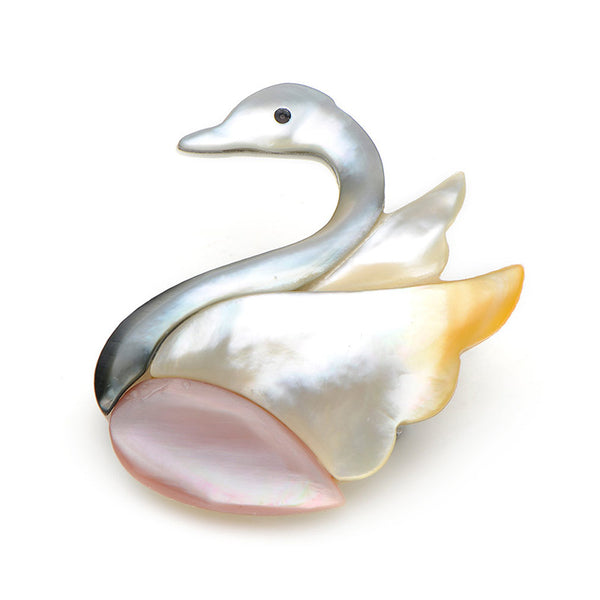 Unisex High Quality Elegant Natural Shell Swan Enamel Brooch Pin-Animal Brooches-Junaizo.com