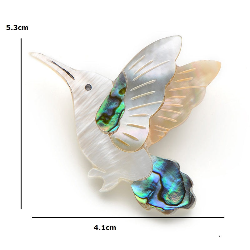 Unisex Natural White Shell Hummingbird Party Enamel Brooch Pin-Animal Brooches-Junaizo.com