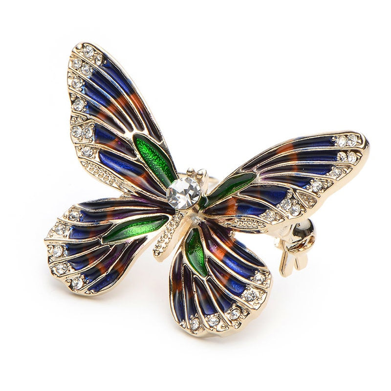 Unisex Elegant Alloy Rhinestone Enamel Butterfly Insect Brooch Pin-Animal Brooches-Junaizo.com