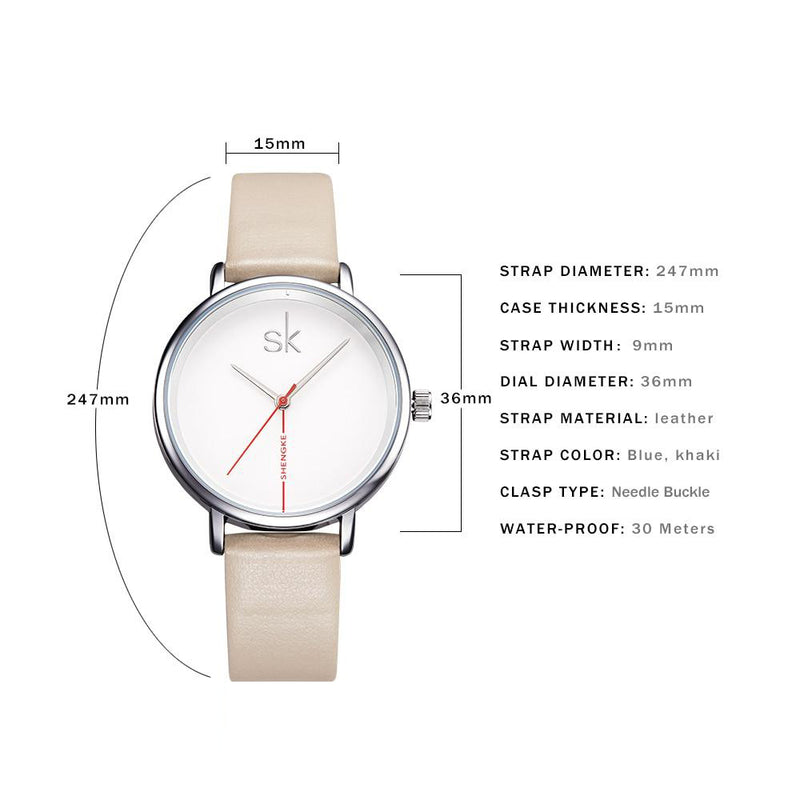 Women's Casual Round Shape Water Resistant Quartz Wristwatch-Women's Quartz Watches-Junaizo.com