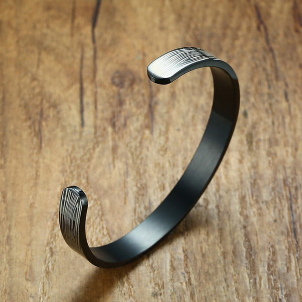 Men's Punk Style All Compatible Stainless Steel Cuff Bangle Bracelet-Men's Bracelets-Junaizo.com