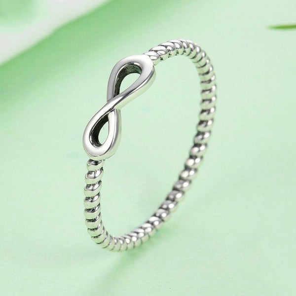 Women's 925 Sterling Silver Trendy Infinity Elegant Engagement Ring-Silver Rings-Junaizo.com