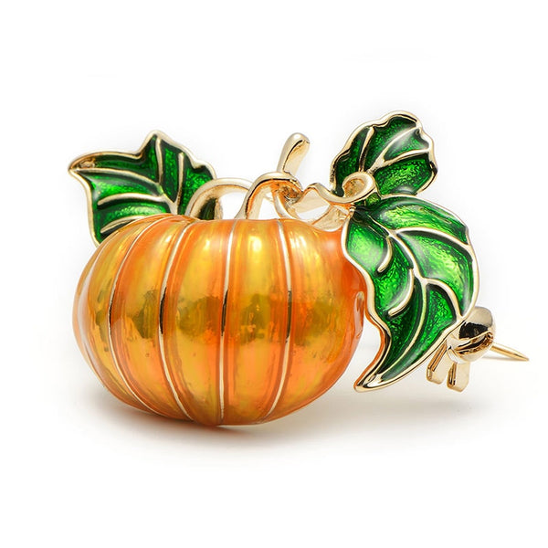 Unisex New Alloy Green Leaves Orange Enamel Pumpkin Brooch Pin-Plant Brooches-Junaizo.com