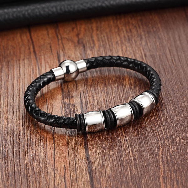 Men's New Stainless Steel Snake Chain Genuine Leather Cuff Bracelet-Men's Bracelets-Junaizo.com