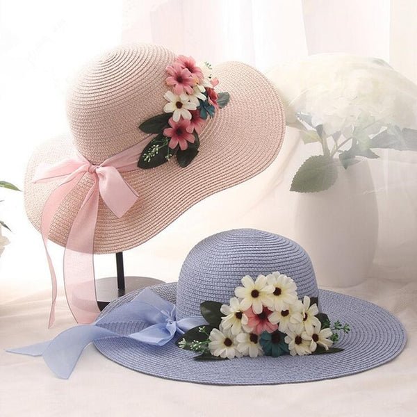 Women's Casual Wide Brim Double Flowers Weave Straw Sun Hat-Sun Hats-Junaizo.com