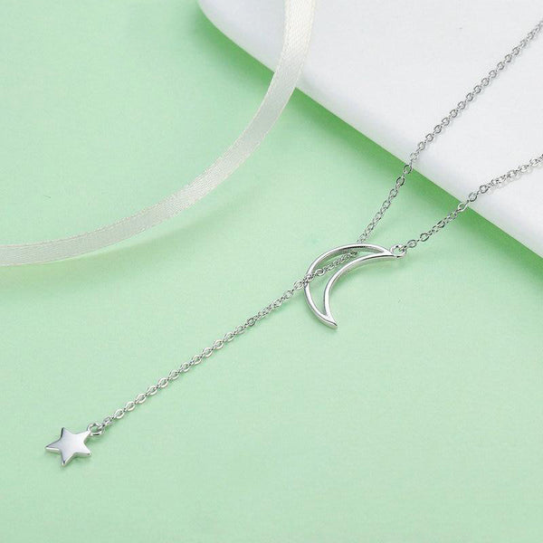 Women's 925 Sterling Silver Moon And Star Tales Pendant Necklace-Pendant Necklaces-Junaizo.com
