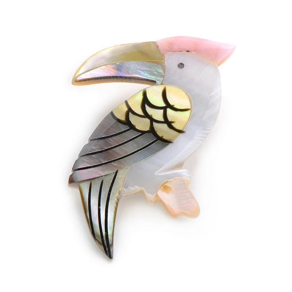 Unisex Trending Style Natural Shell Woodpecker Animal Brooch Pin-Animal Brooches-Junaizo.com
