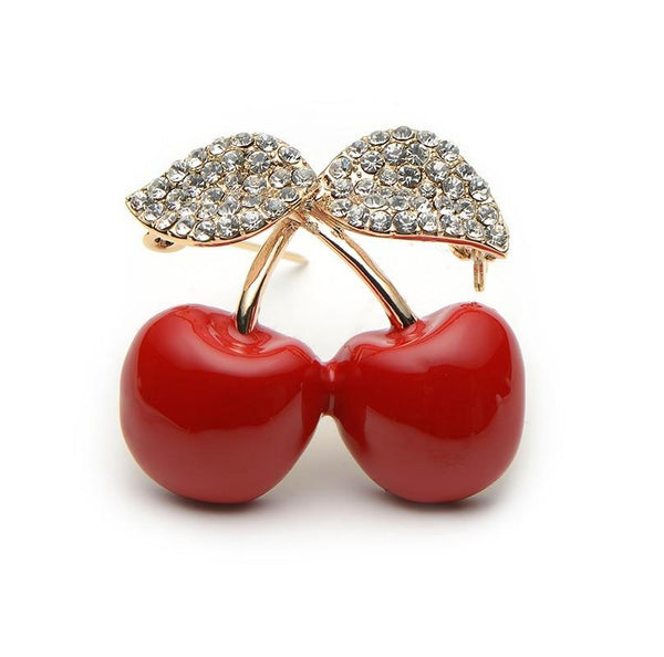 Unisex High Quality Rhinestone Red Cherry Trendy Fruit Brooch Pin-Plant Brooches-Junaizo.com