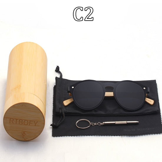 Unisex Bamboo Frame Handmade Anti-Reflective UV400 Sunglasses-Wooden Glasses-Junaizo.com