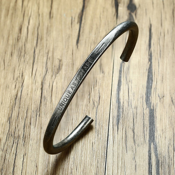 Men's Vintage Silver Color Open Cuff Stainless Steel Bangle Bracelet-Men's Bracelets-Junaizo.com