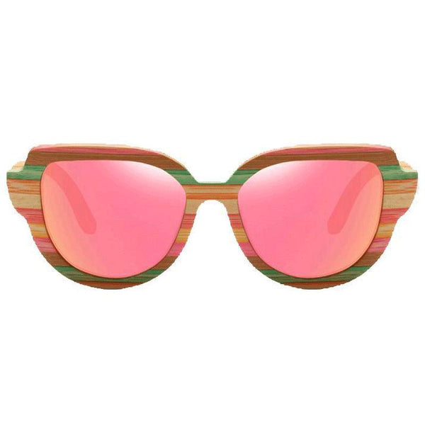 Women's New Vintage Colorful Bamboo Frame Cat Eyes Sunglasses-Wooden Glasses-Junaizo.com
