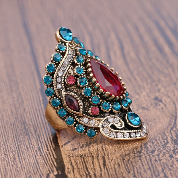 Women's Luxury Pink Big Stone Mosaic Blue Crystal Vintage Ring-Vintage Rings-Junaizo.com