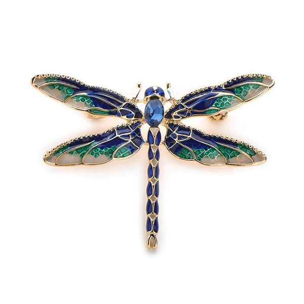 Unisex Green Purple Enamel Dragonfly Insect Alloy Metal Brooch Pin-Animal Brooches-Junaizo.com