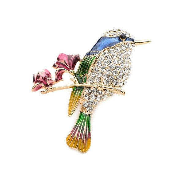 Unisex Elegant Rhinestone Bird Lovely Zinc Alloy Enamel Brooch Pin-Animal Brooches-Junaizo.com
