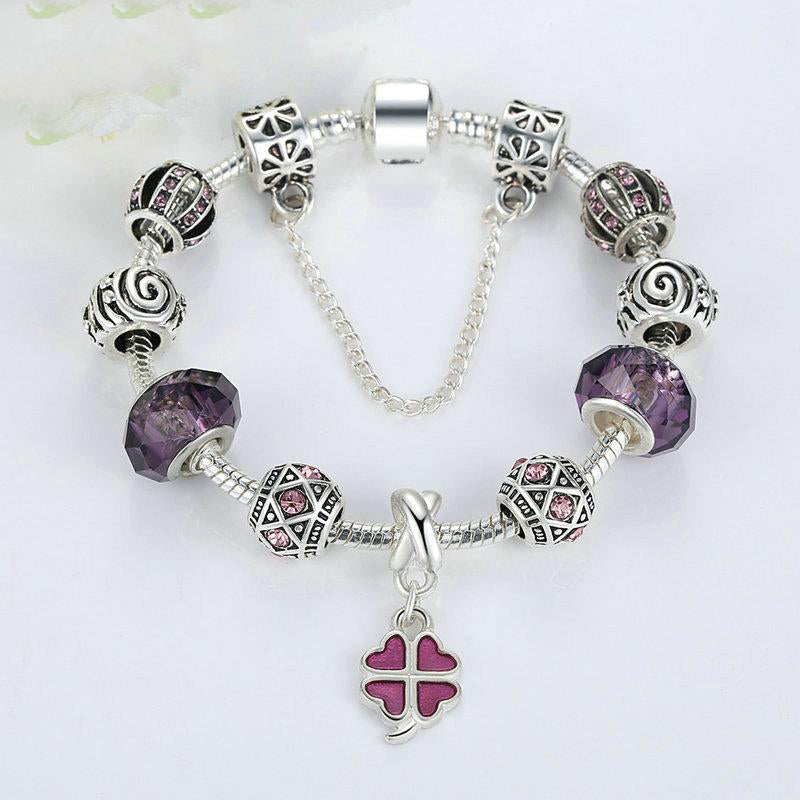 Women's Trendy Snake Chain Purple Glass Beads Charm Bracelet-Charm Bracelets-Junaizo.com