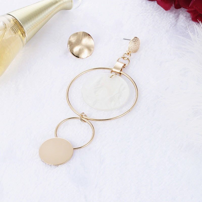 Women's Korean Style Gold Color Big Hollow Circle Drop Earrings-Boho Earrings-Junaizo.com