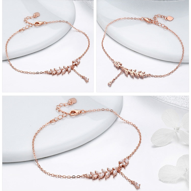 Women's 925 Sterling Silver Rose Gold Tree Leaves Chain Bracelet-Chain Bracelets-Junaizo.com