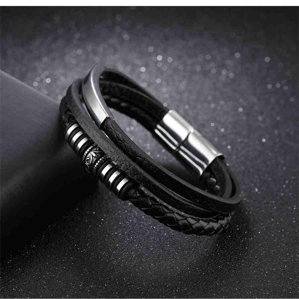 Men's Hip Hop Style Leather Stainless Steel Rope Chain Bracelet-Men's Bracelets-Junaizo.com
