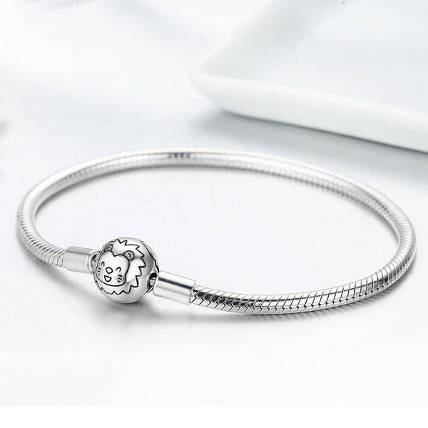 Women's 925 Sterling Silver Lion Animal Round Clasp Strand Bangle-Bangle Bracelets-Junaizo.com