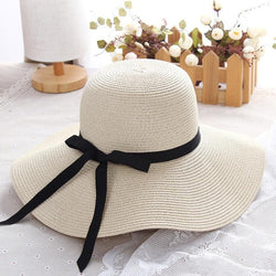 Women's Wide Brim Foldable Sun Block UV Protection Straw Sun Hat-Sun Hats-Junaizo.com