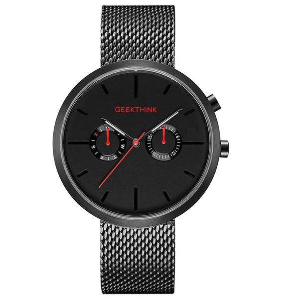 Men's Casual Style Water Resistant Stainless Steel Quartz Wristwatch-Men's Quartz Watches-Junaizo.com