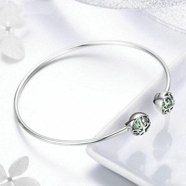 Women's 925 Sterling Silver Tree of Life Green Crystal CZ Bangle-Bangle Bracelets-Junaizo.com