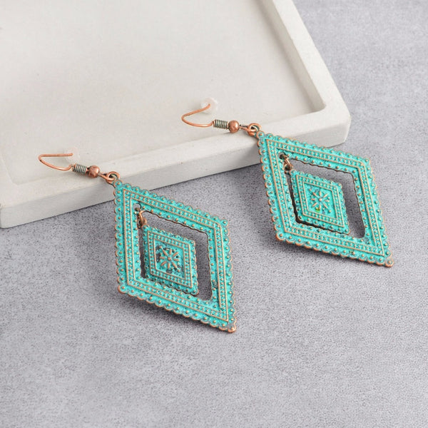 Women's Bohemian Double Rhombic Vintage Retro Dangle Earrings-Boho Earrings-Junaizo.com