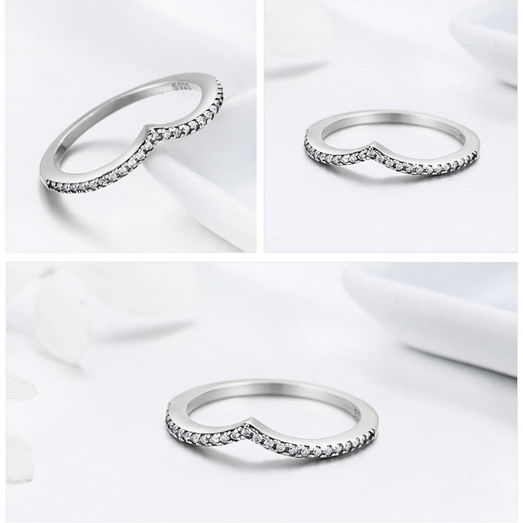 Women's 925 Sterling Silver Water Droplet Clear CZ Finger Ring-Silver Rings-Junaizo.com