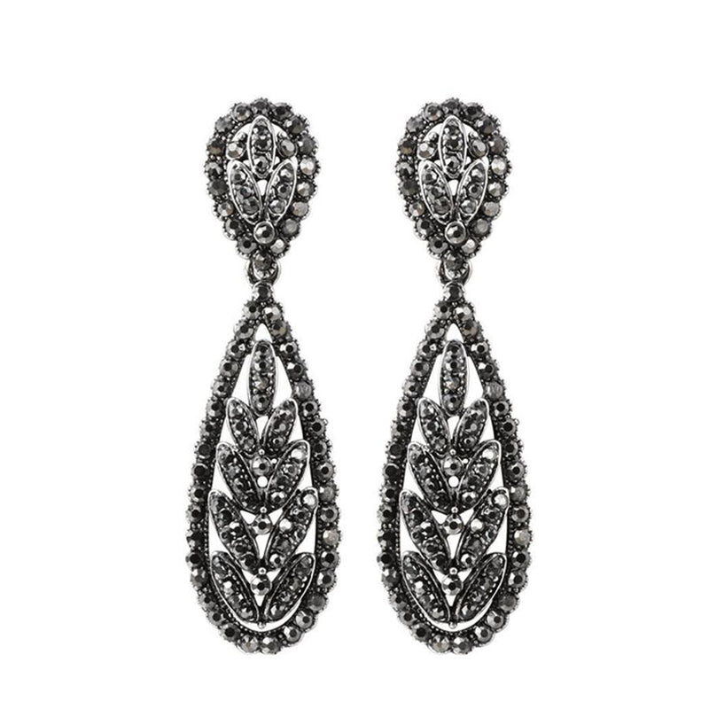 Women's Punk Silver Color Tree Leaves Gray Crystal Drop Earrings-Vintage Earrings-Junaizo.com