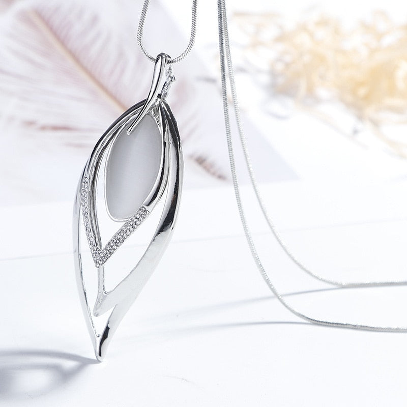 Women's New Multi Layer Crystal Plant Leaves Long Pendant Necklace-Fashion Necklaces-Junaizo.com