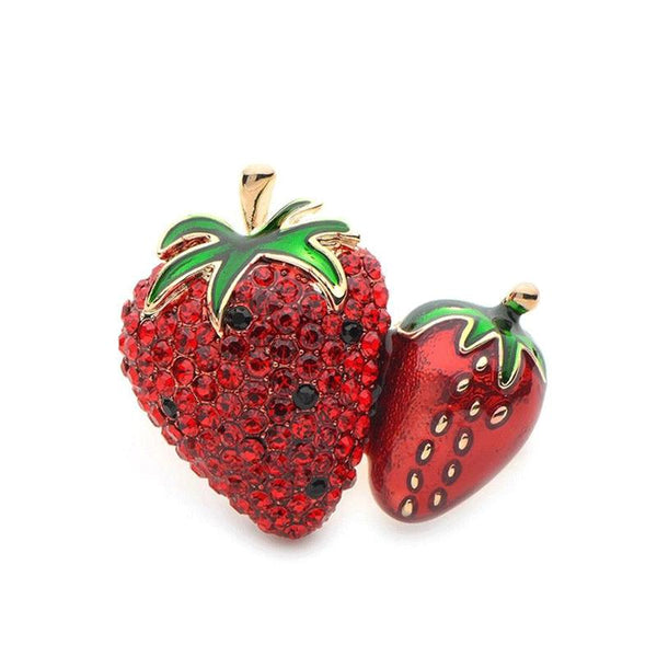 Unisex Cute Red Crystal Enamel Strawberry Fruit Plant Brooch Pin-Plant Brooches-Junaizo.com