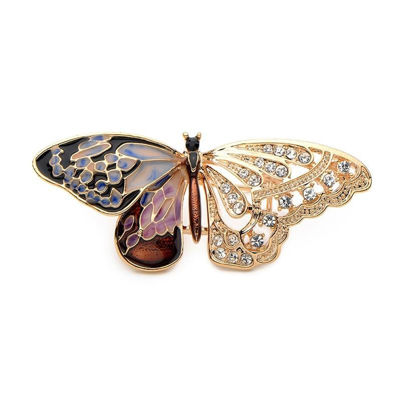 Unisex High Quality Zinc Alloy Purple Enamel Butterfly Brooch Pin-Animal Brooches-Junaizo.com