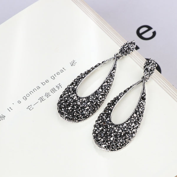Women's Antique Silver Punk Style Bright Black Crystal Drop Earrings-Vintage Earrings-Junaizo.com
