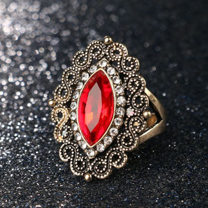 Women's Bohemian Style Antique Gold Color White Crystal Ring-Vintage Rings-Junaizo.com