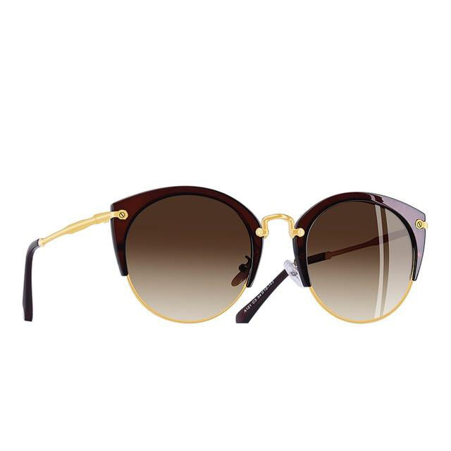 Women's Polarized Half Frame Vintage Retro Cat Eye Sunglasses-Cat Eyes-Junaizo.com