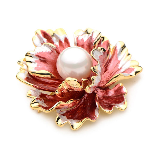 Unisex Simulated Pearl Elegant Red Peony Flower Enamel Brooch Pin-Plant Brooches-Junaizo.com