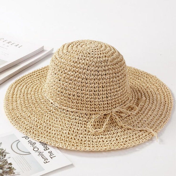 Women's New Wide Brim Floppy Raffia Sun Protection Straw Sun Hat-Sun Hats-Junaizo.com