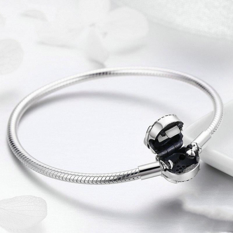 Women's 925 Sterling Silver Cute Owl Clasp Snake Chain Bangle-Bangle Bracelets-Junaizo.com