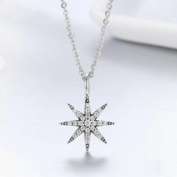 Women's 925 Sterling Silver Sparkling Star Dazzling CZ Pendant Necklace-Pendant Necklaces-Junaizo.com