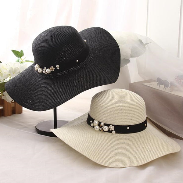 Women's Summer Flower Beads Wide Brim Jazz Panama Sun Hat-Sun Hats-Junaizo.com