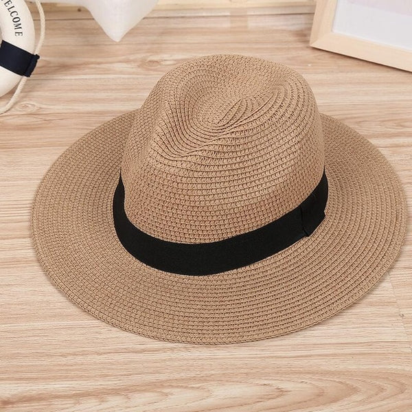 Women's Casual Summer Fashion Wide Brim Jazz Panama Sun Hat-Sun Hats-Junaizo.com
